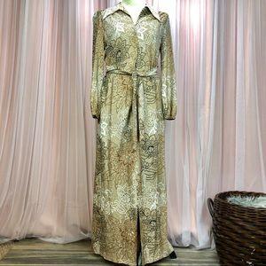 70s Vintage Handmade Metallic Maxi Dress
